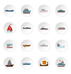 Sea transport set flat icons vector