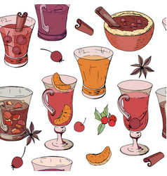 Seamless pattern with glasses of mulled wine tea vector
