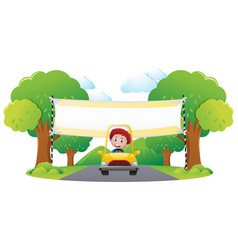 Banner template with boy driving yellow car in vector