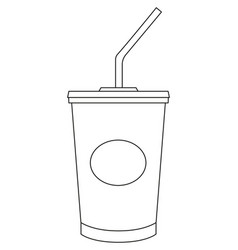 black and white soda cola milkshake fast food icon vector image