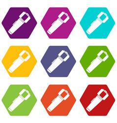 hand flashlight icon set color hexahedron vector image