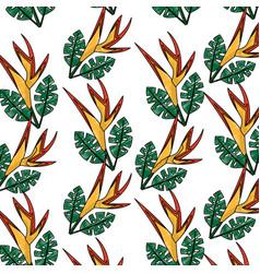 seamless pattern bird of paradise flower leaves vector image