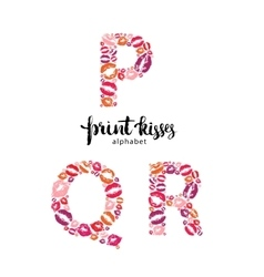 Set of letters P Q and R made from print kisses vector image