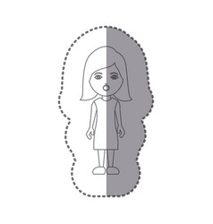 sticker silhouette caricature puzzled woman with vector image vector image