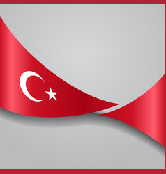 turkish wavy flag vector image vector image
