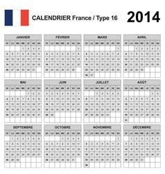 Calendar 2014 France Type 16 vector image