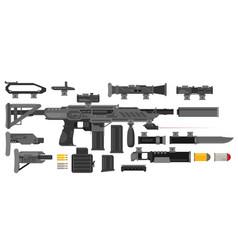 futuristic sci-fi weapon set to create a rifle vector image vector image