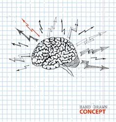 Hand drawn brain on school paper vector image vector image