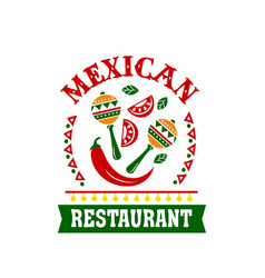Mexican cuisine restaurant emblem with spice food vector