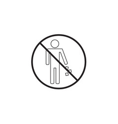 No littering line icon no trash prohibited sign vector