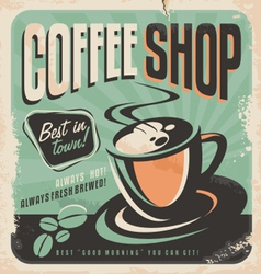 Retro poster for coffee shop vector image vector image