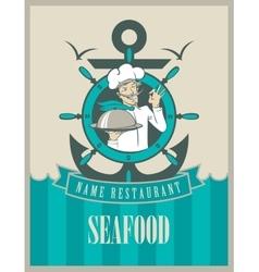 Retro seafood menu vector image
