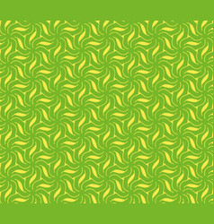 abstract yellow flowers and leaves on a green vector image vector image
