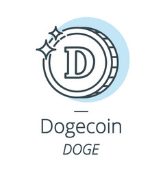 dogecoin cryptocurrency coin line icon of virtual vector image vector image
