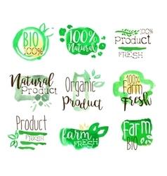 Healthy Bio Food Promo Signs Colorful Set vector image vector image