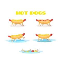 Hot dog set vector image