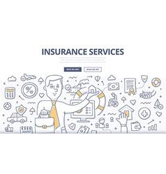 Insurance Services Doodle Concept vector image