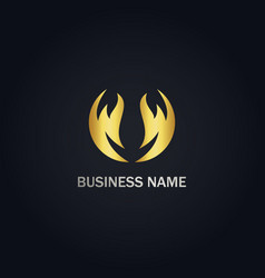 abstract circle wave company gold logo vector image