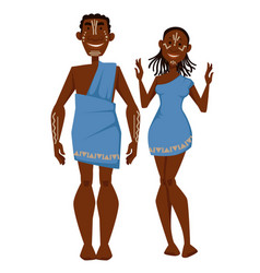 African family in ethnic clothing tribe characters vector