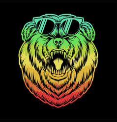 angry bear eyeglasses colorful vector image