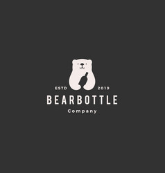 bear bottle logo hipster vintage retro icon vector image