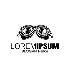 bikers helmet goggles logo design template vector image