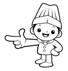 black and white happy cook mascot direction vector image
