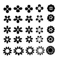 black flower icon collection on white background vector image