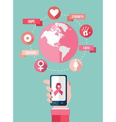 Breast cancer mobile app flat icons infographic vector