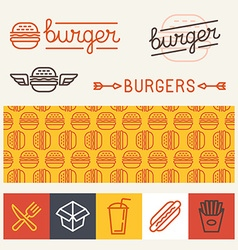 Burger logo design elements vector