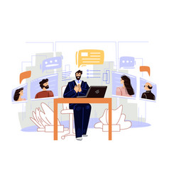 Business video conference flat vector