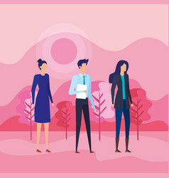 Businesswomen and businessman with documents and vector