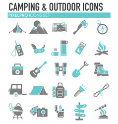camping icons set grey blue on white background vector image