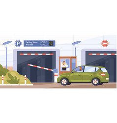 Car at parking entrance with barrier scene with vector