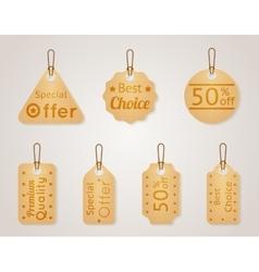 Cardboard sale labels price tags set vector image