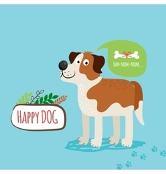 Cartoon happy dog card vector