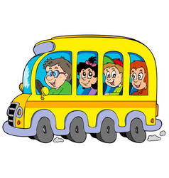 cartoon school bus with kids vector image