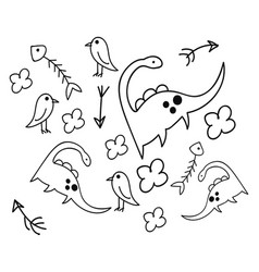 childish doodle dinosaurs flower and fish or vector image