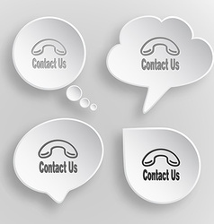 Contact us White flat buttons on gray background vector image