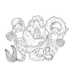 Cute mermaids fairy tales characters vector