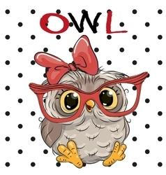 Cute Owl with glasses vector