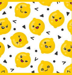 cute smiling lemon fruits seamless pattern vector image