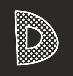 D alphabet letter with white polka dots on black vector image