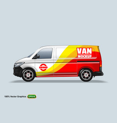 delivery van template with advertise editable vector image