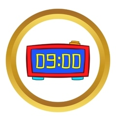 Digital table clock icon cartoon style vector