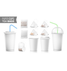 disposable paper cups and tea bags set vector image