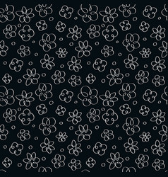 doodle flowers on a black background vector image