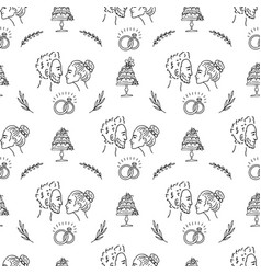 doodle wedding seamless pattern with decorative vector image