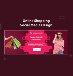 Easy online fashion shop sale social media cover vector