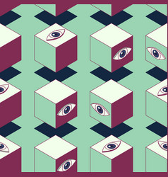 eyed cubes seamless pattern vector image